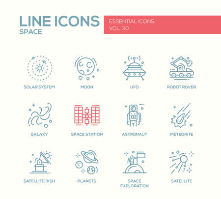 space station: The Space - modern vector plain simple line design icons and pictograms set. Solar system, moon, ufo, robot rover, galaxy, space station, astronaut, meteorite, satellite, planets exploration