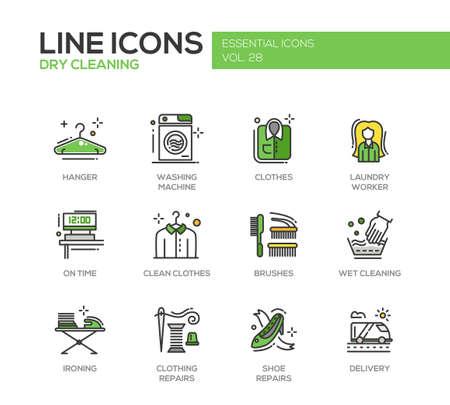 세탁 - 현대 벡터 라인 디자인 아이콘과 그림 문자를 설정합니다. 옷걸이, 세탁기, 의류, 브러쉬, 젖은, 드라이 클리닝, 다림질, 의류, 신발 수리 전달