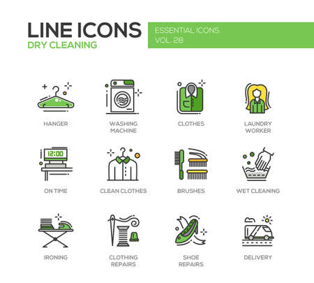 Wäscheservice - moderne Vektor-Line-Design Symbole und Piktogramme. Aufhänger, Waschmaschine, Wäschetrockner, Bürsten, nasse, chemische Reinigung, Bügeln, Kleidung, Schuhreparaturen Lieferung Vektorgrafik