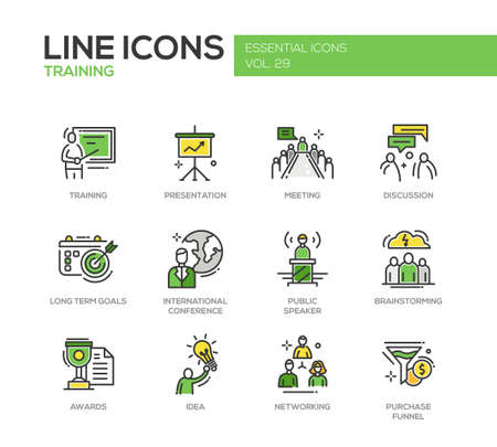 long term: Business training - modern vector line design icons and pictograms set. Presentation, meeting, discussion, goals, conference, speaker, brainstorming, awards, idea networking purchase funnel
