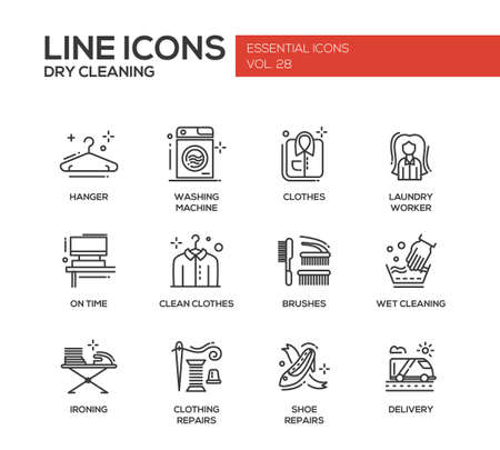 laundry line: Laundry - modern vector simple line design icons and pictograms set. Hanger, washing machine, clothes, brushes, wet, dry cleaning, ironing, clothing, shoe repairs, delivery Illustration