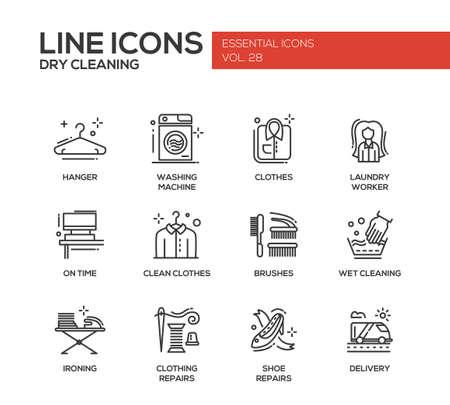 Wäscheservice - moderne Vektor einfache Linie Design-Ikonen und Piktogramme. Aufhänger, Waschmaschine, Wäschetrockner, Bürsten, nasse, chemische Reinigung, Bügeln, Kleidung, Schuhreparaturen, Lieferung