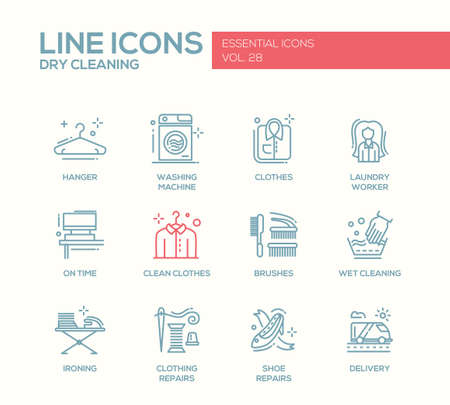 Laundry - modern vector simple line design icons and pictograms set. Hanger, washing machine, clothes, brushes, wet, dry cleaning, ironing, clothing, shoe repairs, delivery Vettoriali