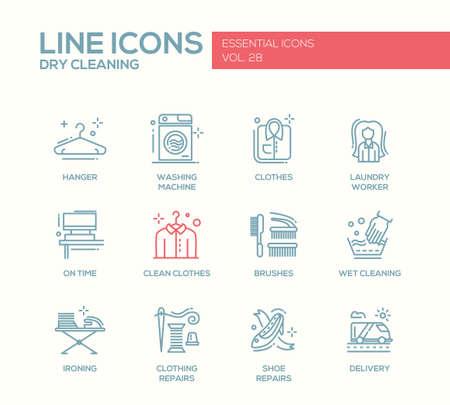 Wäscheservice - moderne Vektor einfache Linie Design-Ikonen und Piktogramme. Aufhänger, Waschmaschine, Wäschetrockner, Bürsten, nasse, chemische Reinigung, Bügeln, Kleidung, Schuhreparaturen, Lieferung Vektorgrafik