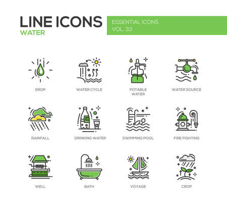 rainfall: Water - modern vector line design icons and pictograms set. Drop, water cycle, potable, drinking water, source, rainfall, swimming pool, fire fighting, well, bath voyage crop
