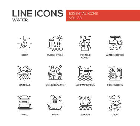 modern design: Water - modern vector plain line design icons and pictograms set. Drop, water cycle, potable, drinking water, source, rainfall, swimming pool, fire fighting, well, bath voyage crop
