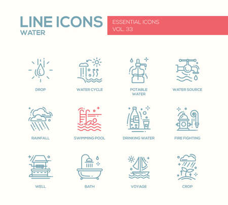 potable: Water - modern vector simple line design icons and pictograms set. Drop, water cycle, potable, drinking water, source, rainfall, swimming pool, fire fighting, well, bath voyage crop