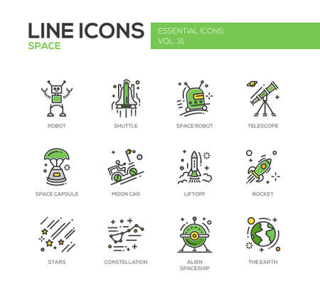 liftoff: The Space - modern vector line design icons and pictograms set. Robot, shuttle, telescope, capsule, moon car, liftoff, rocket, stars, constellation alien spaceship earth