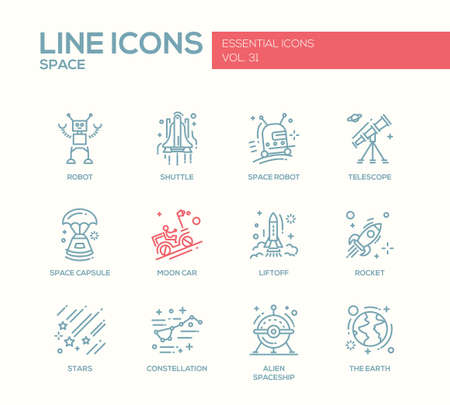 liftoff: The Space - modern vector plain line design icons and pictograms set. Robot, shuttle, telescope, capsule, moon car, liftoff, rocket, stars, constellation alien spaceship earth