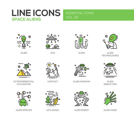 abduction: Space Aliens - modern vector line design icons and pictograms set. UFO, technologies, extraterrestial civilization, contact, weapon, alien abduction, species, crash, robot hand