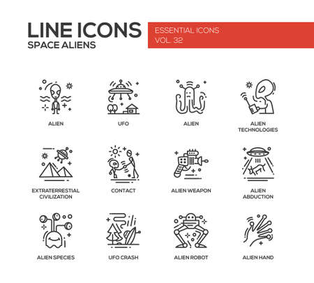 abduction: Space Aliens - modern vector plain line design icons and pictograms set. UFO, technologies, extraterrestial civilization, contact, weapon, alien abduction, species, crash, robot hand Illustration