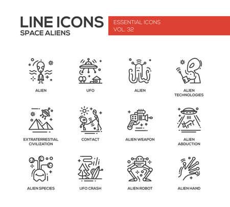 civilization: Space Aliens - modern vector plain line design icons and pictograms set. UFO, technologies, extraterrestial civilization, contact, weapon, alien abduction, species, crash, robot hand Illustration