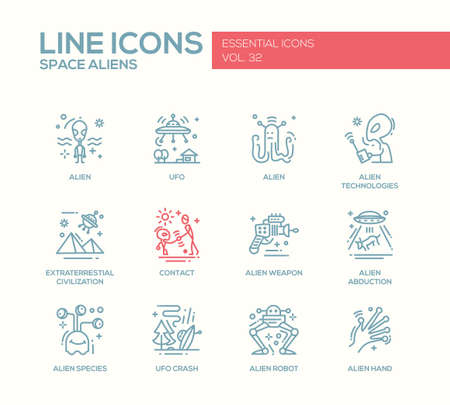 abduction: Space Aliens - modern vector simple line design icons and pictograms set. UFO, technologies, extraterrestial civilization, contact, weapon, alien abduction, species, crash, robot hand Illustration