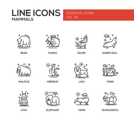 lynx: Mammals - set of modern vector plain line design icons and pictograms of animals. Bear, panda, skunk, eared seal, walrus, meerkat, lion, tiger, lynx, elephant tapir rhinoceros