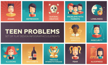 Set of modern vector flat design icons and pictograms of teenager problems. Anger, depression, personal identity, problems with parents, insecurity, aloofness, loneliness, illusions, bad habits, fear