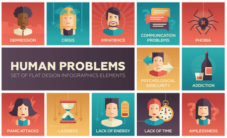 energy crisis: Set of modern vector flat design icons and pictograms of common human psychological problems. Crisis, impatience, depression, panic attacs, insecurity, phobia, addictions, aimlessness, laziness, energy, time lack Illustration