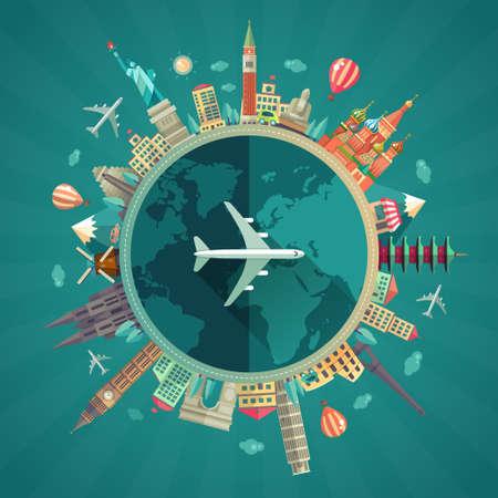 Illustrazione vettoriale della composizione di viaggio pianeggiante di design con icone di punti di riferimento famosi del mondo intorno al pianeta Vettoriali
