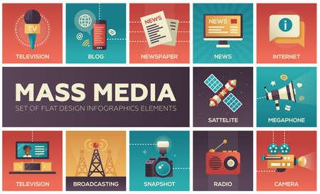 현대 벡터 평면 디자인 매스 미디어 아이콘과 매스 미디어 그림 문자의 집합입니다. TV, 신문, 블로그, 인터넷, 라디오, 위성, 확성기, 방송, 카메라, 스 일러스트