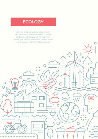 ecosystem: Ecology - vector line design brochure poster, flyer presentation template, A4 size layout. Energy saving, pollution, recycling, heavy industry, climate crisis, ecosystem, environmentally friendly technology Illustration