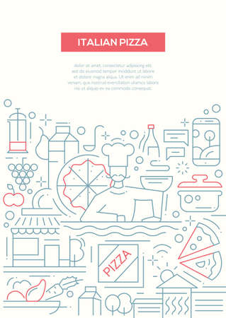 italian cuisine: Italian pizza - vector line design brochure poster, flyer presentation template, A4 size layout. Italy cuisine, food, meals, restaurant, cafe, pizzeria, ingridients, kitchen chef cooker