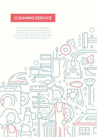 image size: Cleaning Service - vector line design brochure poster, flyer presentation template, A4 size layout Illustration