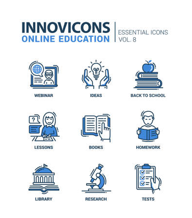 Online Education - modern thin line flat design icons and pictograms set