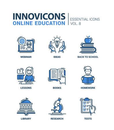 Online onderwijs - moderne dunne lijn platte ontwerp pictogrammen en pictogrammen instellen Stock Illustratie