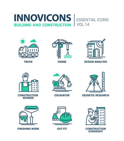 industry design: Building and construction - modern oil industry flat design icons and pictograms Illustration