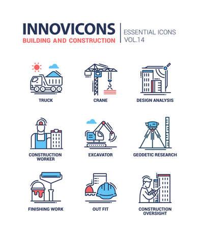 BTP et construction - industrie pétrolière moderne icônes du design plat et pictogrammes