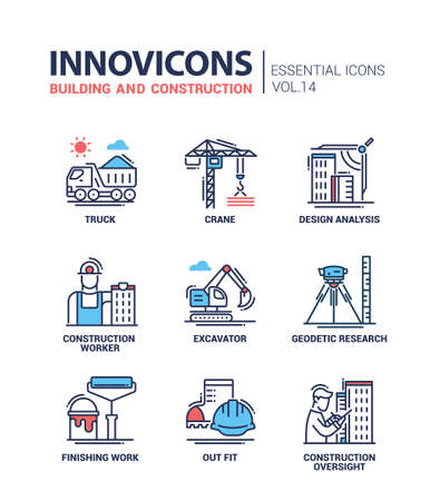 Building and construction - modern oil industry flat design icons and pictograms Иллюстрация