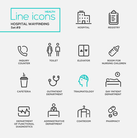 outpatient: Hospital wayfindings - modern plain simple thin line design icons and pictograms set