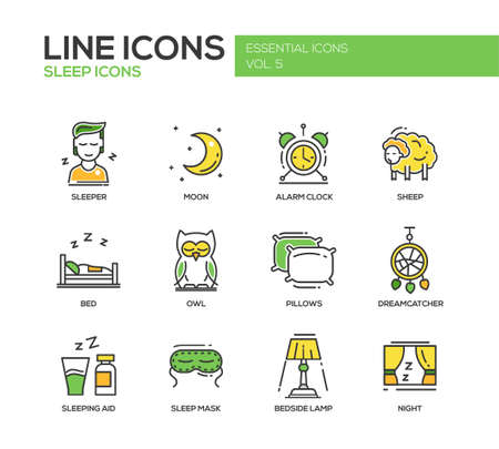 set going: Set of modern vector line design icons and pictograms of going to bed and sleping elements. Sleeper, moon, alarm clock, sheep, owl, dreamcather, mask, bedside lamp, night, aid