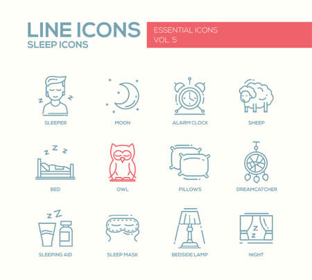 set going: Set of modern vector plain line design icons and pictograms of going to bed and sleping elements. Sleeper, moon, alarm clock, sheep, owl, dreamcather, mask, bedside lamp, night, aid Illustration