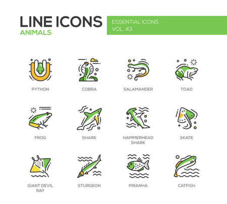 Animals - set of modern vector line design icons and pictograms of reptiles and fish. Python, cobra, salamander, toad, frog, shark, hammerhead shark, skate, giant devil ray, sturgeon, piranha, catfish