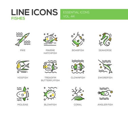 blowfish: Fishes - set of modern vector line design icons and pictograms. Pike, marine hatchfish, boarfish, seahorse, hogfish, treadfin butterflyfish, clownfish, swordfish, molidae, blowfish coral angler fish Illustration