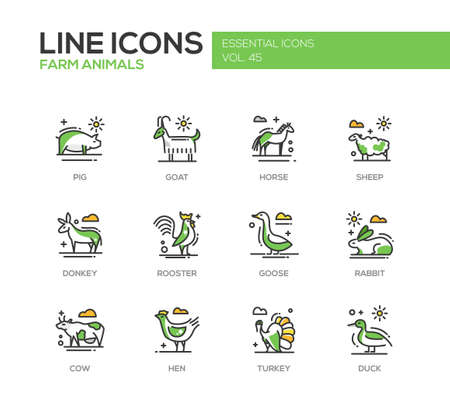 turkey hen: Farm animals - set of modern vector line design icons and pictograms. Pig, goat, horse, sheep, donkey, rooster, goose, rabbit, cow hen turkey duck
