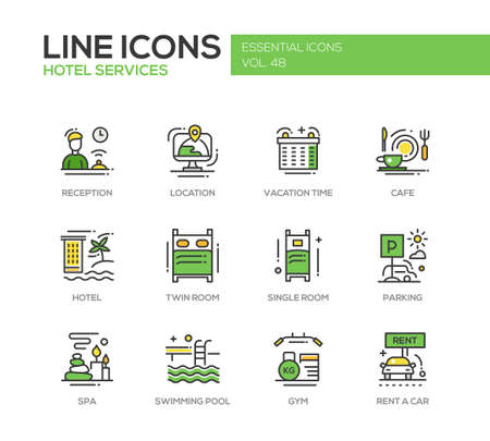 accomodation: Hotel services - set of modern vector line design icons and pictograms. Reception, location, vacation time, cafe, twin, single room, parking, spa, swimming pool, gym, rent a car