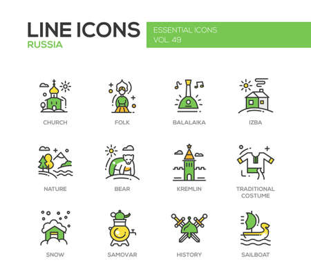 flora fauna: Russian national symbols - set of modern vector line design icons and pictograms. Church, folk, balalaika, izba, nature, bear, kremlin, traditional costume, snow, samovar history sailboat