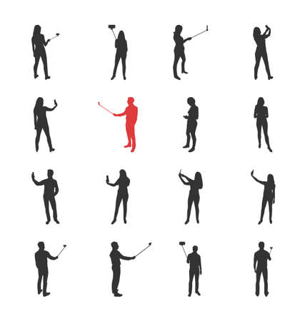 woman arms up: People, male, female silhouettes in different shooting selfie pictures poses - modern vector flat design isolated icons set. Making selfies with and without selfie stick