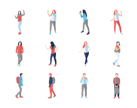casual men: People, male, female, in different casual poses - modern vector flat design isolated icons set. Dancing, walking, with a backpack Illustration