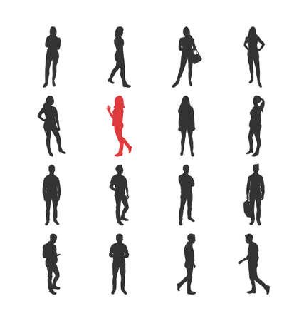 personas de pie: La gente, masculina, femenina siluetas en diferentes poses comunes ocasionales - aislados iconos del diseño moderno plano conjunto de vectores. Estar de pie mirando a través de teléfonos inteligentes brazos en jarras con una bolsa