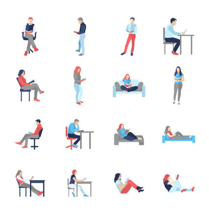 legs crossed: People, male, female, in different casual common reading poses - modern vector flat design isolated icons set. Holding book, reading, thinking, at the desk, on the chair, sofa