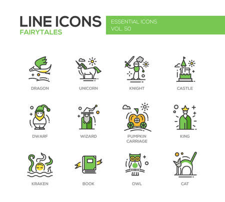 Fairy Tales - set of modern vector line design icons and pictograms. Dragon, unicorn, knight, castle, dwarf, wizard, pumpkin carriage, king, kraken book owl cat