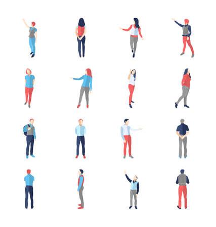 Las personas, hombres, mujeres, en diferentes proyección y navegación plantea - aislados conjunto de vectores iconos del diseño moderno plana.
