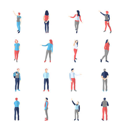People, male, female, in different showing and browsing poses - modern vector flat design isolated icons set. Vettoriali