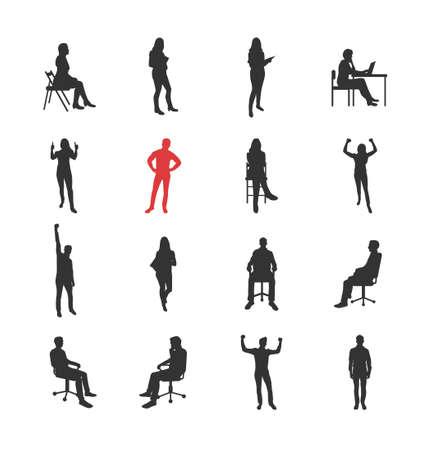 Mensen, mannelijke, vrouwelijke silhouetten in verschillende informele gemeenschappelijke poses - moderne vector geïsoleerde plat design iconen set. Staand, zittend, met boek, vreugde, succes, op de computer Vector Illustratie