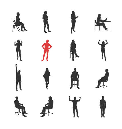 woman arms up: People, male, female silhouettes in different casual common poses - modern vector flat design isolated icons set. Standing, sitting, holding book, delight, success, at the computer