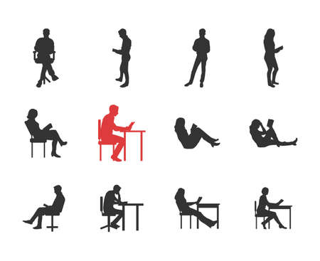 different thinking: People, male, female silhouettes in different casual common reading poses - modern vector flat design isolated icons set. Holding book, reading, thinking, at the desk, on the chair, sofa