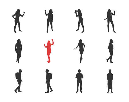 People, male, female silhouettes in different casual poses - modern vector flat design isolated icons set. Dancing, walking, with a backpack Illustration