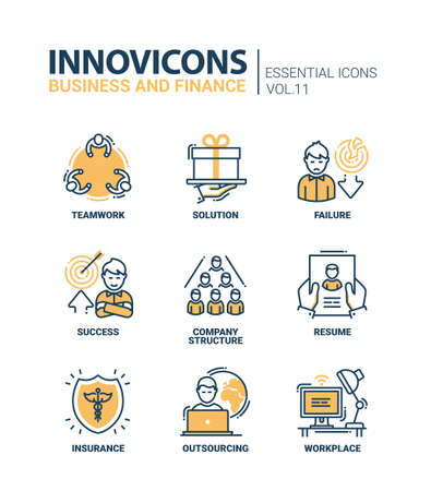 Busness and Fnance - modern vector thin line flat design icons and pictograms set. Teamwork, solution, failure, success, company structure, resume, insurance, outsourcing, work place Vectores